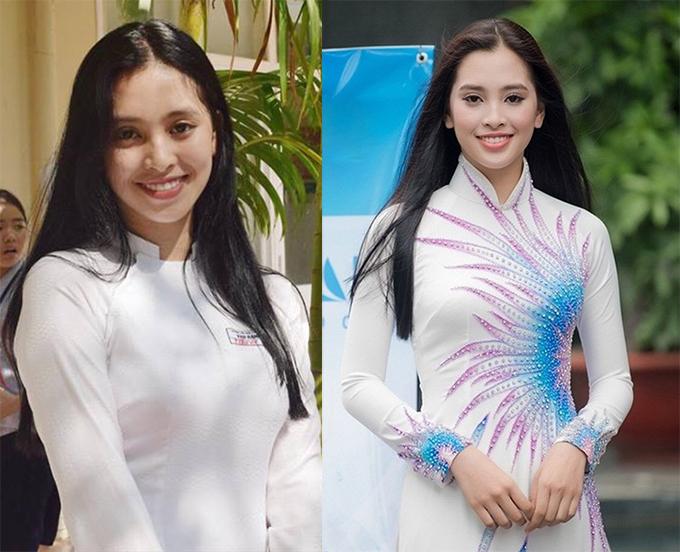 Trong bộ đồ nữ sinh và gần như để mặt mộc khi dự lễ tốt nghiệp tại trường PTTH (ảnh trái) hồi tháng 5/2018, Tiểu Vy vẫn rakhông kém khi tham dự buổi sơ tuyển cuộc thi Hoa hậu Việt Nam 2018 khu vực phía Bắc diễn ra tháng 7/2018.