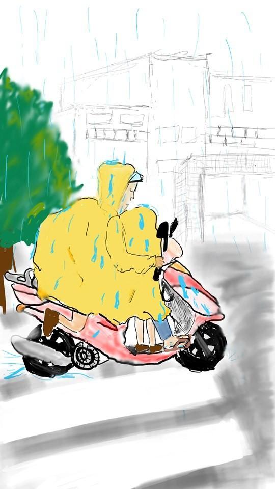 Bức vẽ mẹ chở con ngồi trong áo mưa gây sốt MXH và câu chuyện đằng sau khiến ai cũng mủi lòng