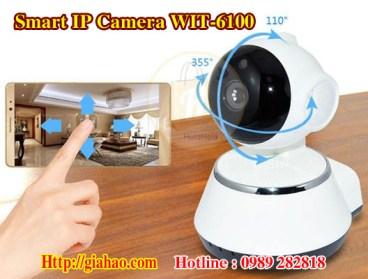 Camera IP WIFI thông minh giá rẻ WIT-6100 của công ty Tin Học Gia Hào có thể dùng điện thoại điều khiển xoay trái phải 355 độ và lên xuống 120 độ