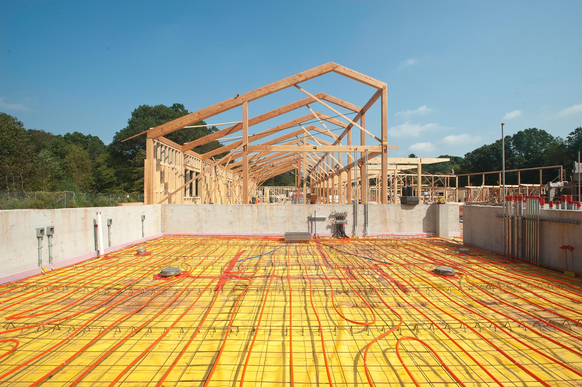radiant heat construction and progress photo by John giammatteo of Kohler Environmental Center