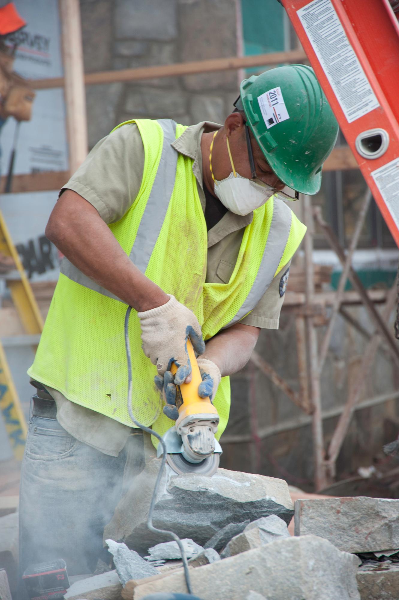construction and progress photo by John giammatteo of Kohler Environmental Center- Masonry