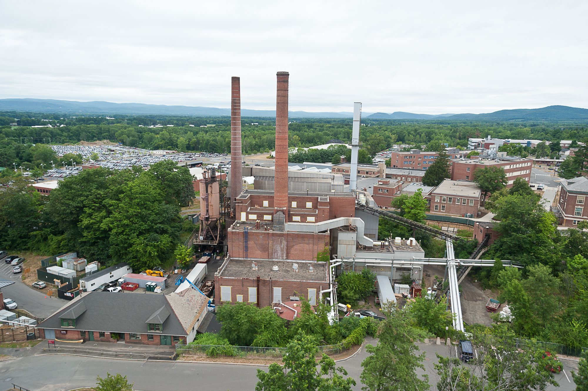 aerial and Progress photography by John Giammatteo of the UMass plant demolition by Whiting Turner Construction