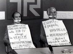 1978, con Marco Pannella in una Tribuna Referendum