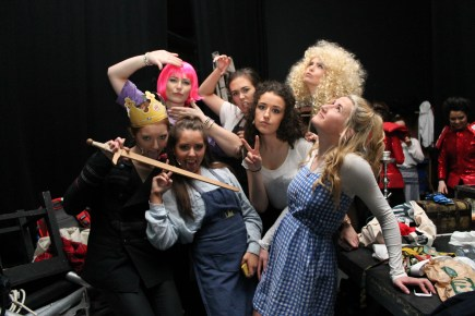 """Members of the cast of DCU Drama's Panto """"The Adventures of the Wickedly Talented Adele"""" in the backstage of The Venue on Thursday night. The Society sold over 350 tickets and will donate the money raised to charity (Gianluca Avagnina Photography)."""