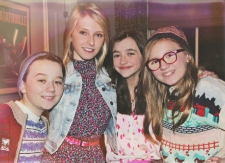 Gianna on set of About a Boy with Ben Stockham, Bee Wood and Ashley Boettcher.