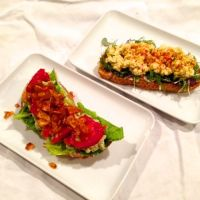 Open Faced Sandwich Duo: 'Egg' Salad and Vegan 'BLAT'