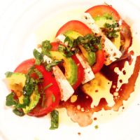 Caprese Salad with Avocado and Tofu Mozzarella