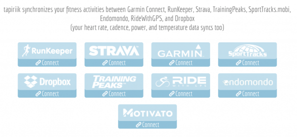 tapiriik synchronizes your fitness activities between Garmin Connect, RunKeeper, Strava, TrainingPeaks, SportTracks.mobi, Endomondo, RideWithGPS, and Dropbox (your heart rate, cadence, power, and temperature data syncs too)