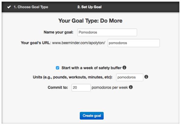 Creating a new goal, step 2