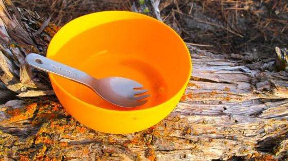 Titanium spork and food-grade silicone bowl!