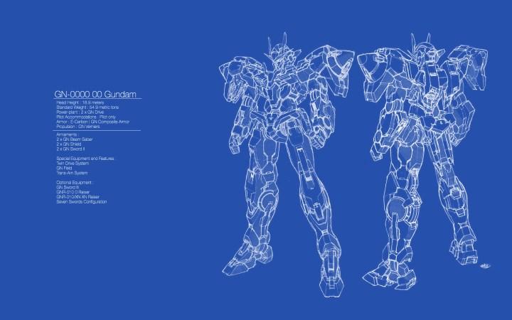 00 Gundam Blue Print Wallpaper 1920 x 1200