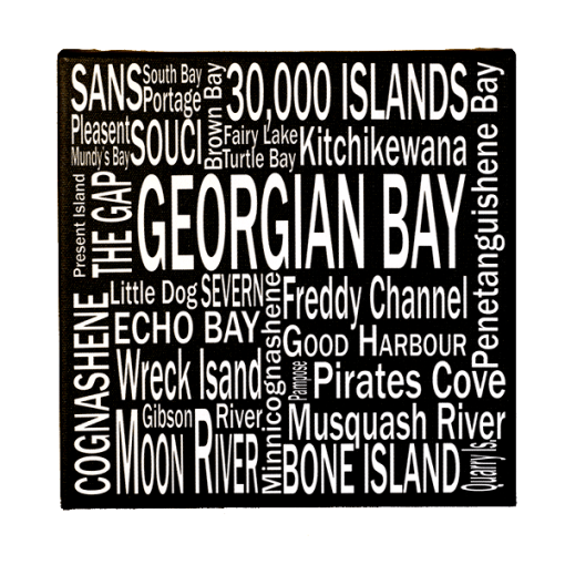 Canvas Print | 30,000 Destinations Square | Giants Tomb Trading Co - Georgian Bay