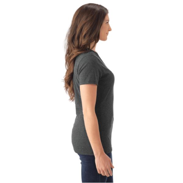 Ladies V-Neck T-Shirt - Tri-Blend - Black - Side