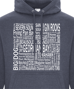 Hoodie Heather Navy Georgian Bay Destinations Front 2