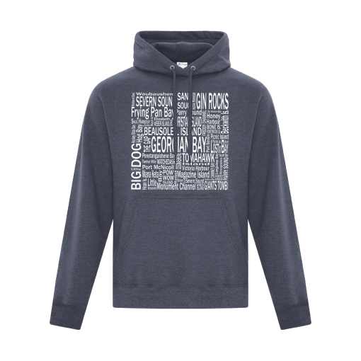 Hoodie Heather Navy Georgian Bay Destinations Front