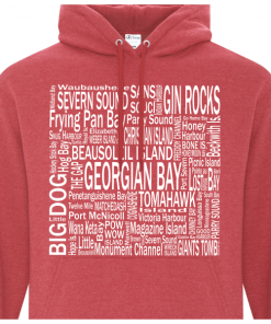 Hoodie | Unisex | Active Blend | Heather Red | Logo: Georgian Bay Destinations - Front 2