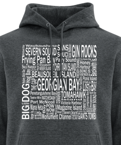 Hoodie | Unisex | Active Blend | Dark Heather | Logo: Georgian Bay Destinations - Front 2