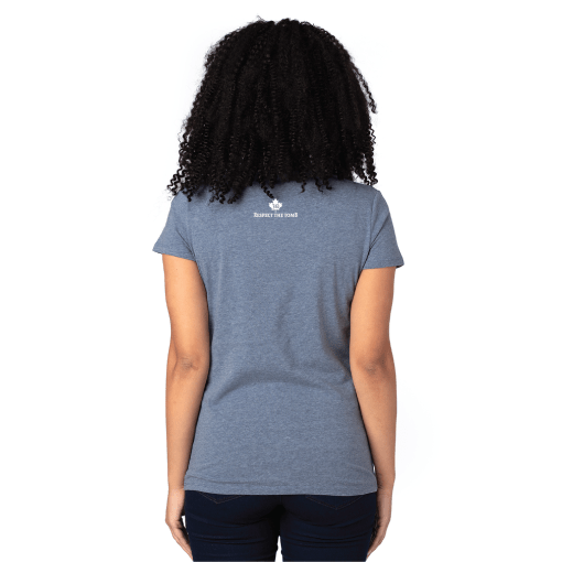 V-Neck Destinations Heather Blue Back