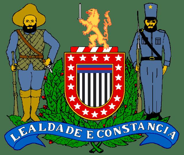 O Brasão-de-armas da Polícia Militar do Estado de São Paulo, Escudo Português, perfilado em ouro, tendo uma bordadura vermelha carregada de 18 estrelas de 5 pontas em prata, representando marcos históricos da Corporação