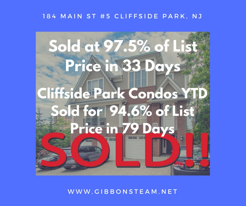 184 Main St Unit 5 Cliffside Park, NJ was sold by the Gibbons Team in 2017. Contact Ryan at 201-446-8190 to learn more.