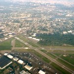 Aerial View of Teterboro Airport Teterboro, NJ. Also see out past the Hackensack and Hudson Rivers to Manhattan.
