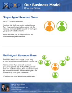 "eXp Realty Revenue Share is a program where agents can earn money by introducing other agents to the company. Revenue share comes ""off the top"" so it is a great way to earn passive income."