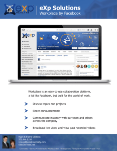 eXp Realty Solutions Workplace is eXp Realty's own version of Facebook just for its agents. Agents use groups to share information on technology, lead generation, company announcements, and more.