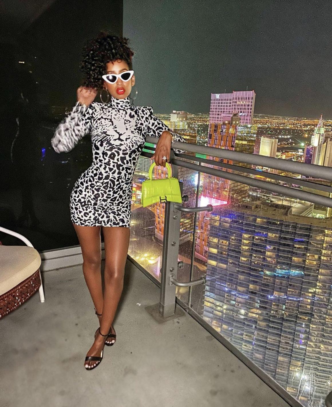 Wardrobe Inquiry: Askale Davis Enjoys Las Vegas in Alex Perry Black and White Leopard Print Mini Dress