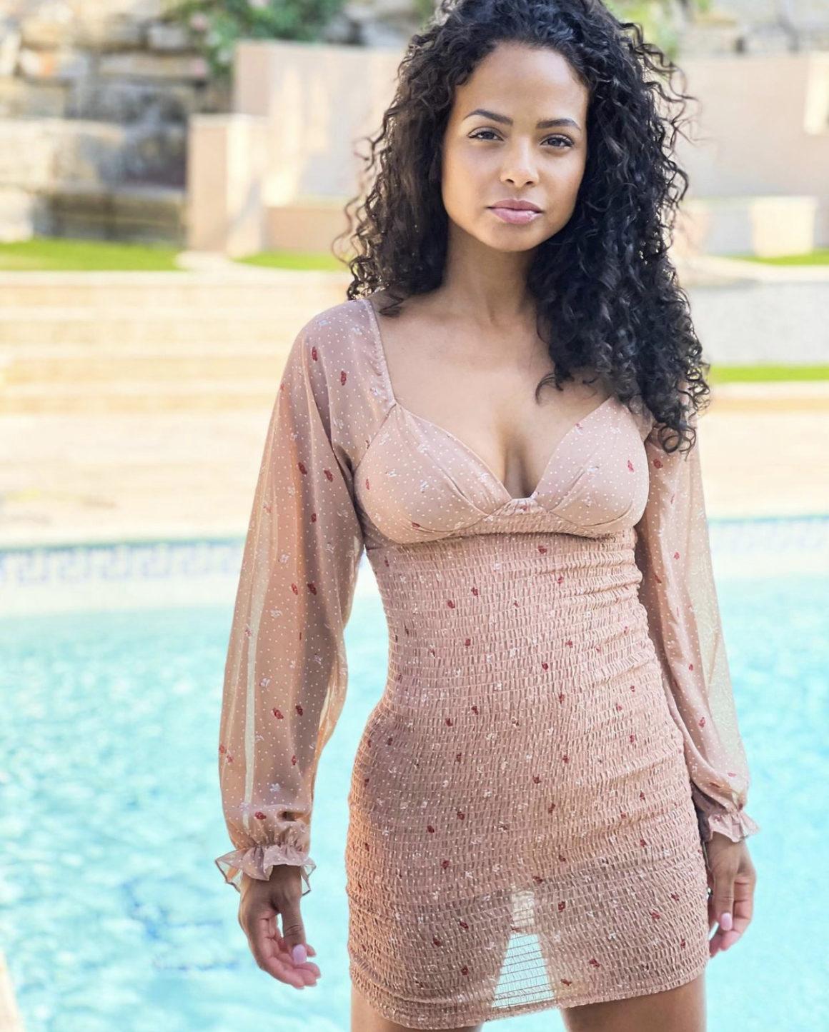 Christina Milian Chills Poolside in Fashion Nova Beige Smock Mini Dress