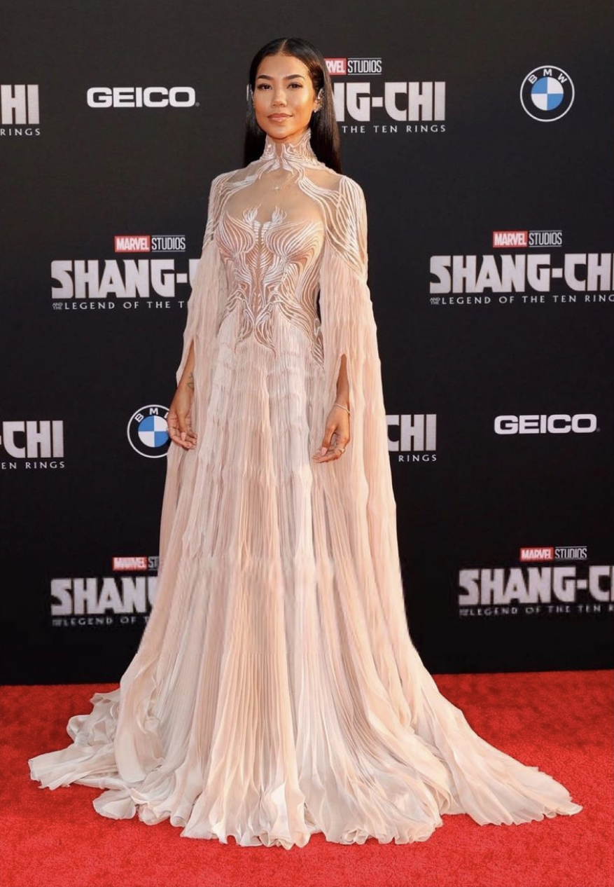 Jhené Aiko Attends Marvel's 'Shang-Chi' Premiere Wearing Iris Van Herpen Spring/Summer 2021 Couture Gown