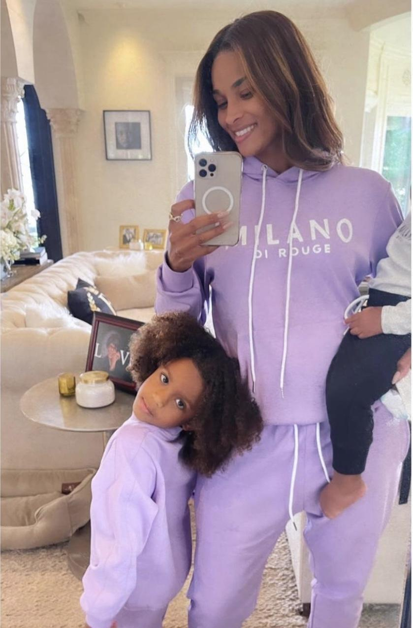 Ciara and Her Kids Rock Milano Di Rouge Purple and Black Sweatsuits While Spending Fun-Filled Quality Time Together