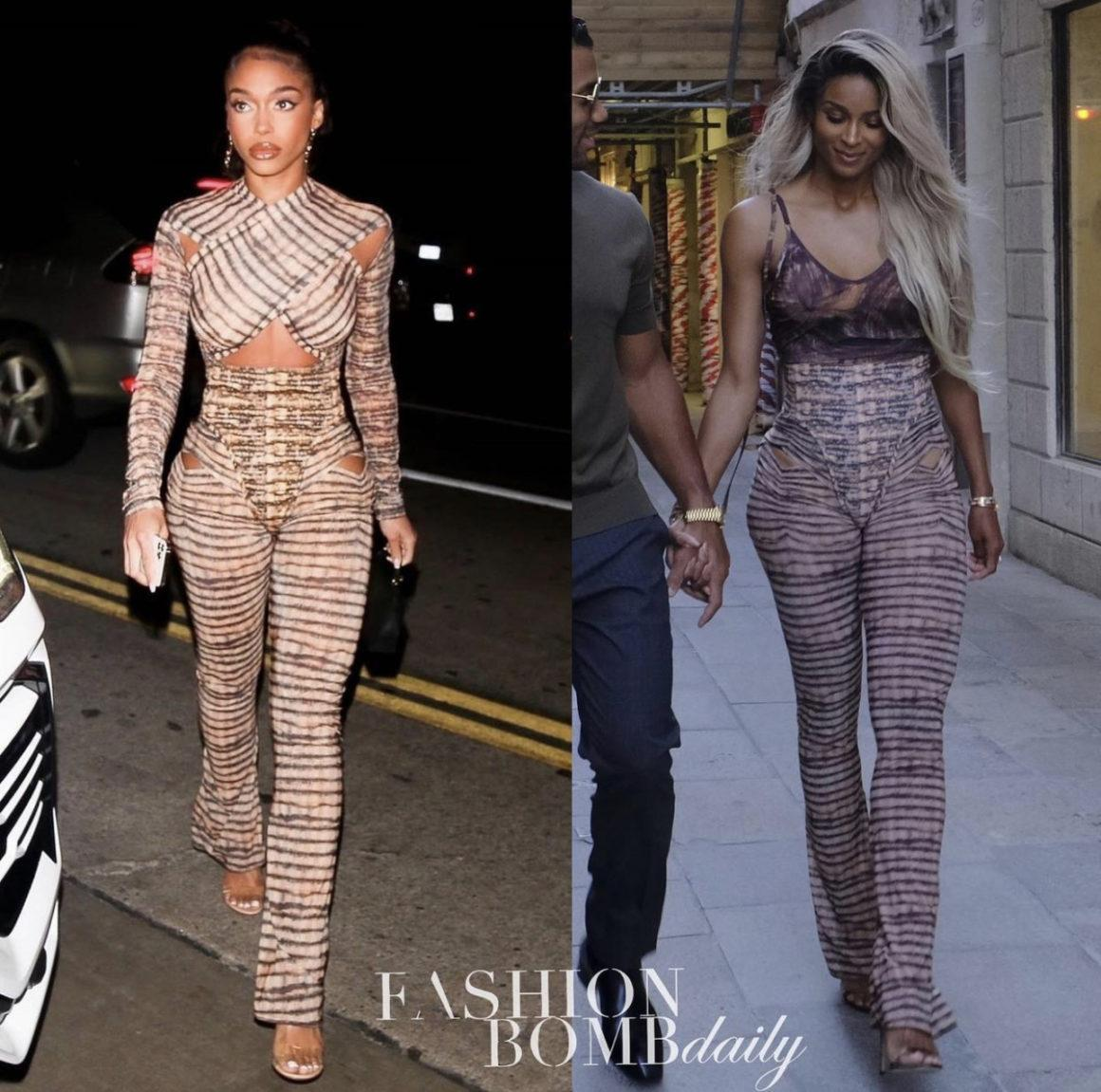 Who Wore It Better: Lori Harvey and Ciara Spotted in Charlotte Knowles Fall 2021 Cutout Flare Leggings
