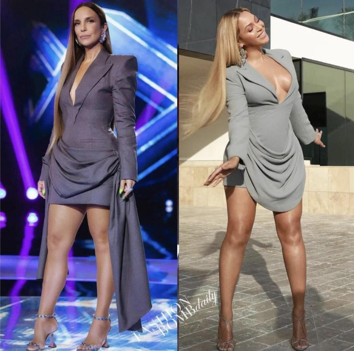 Who Wore It Better: Ivete Sangalo and Beyoncé Spotted in Francesco Murano Grey Draped Blazer Dress