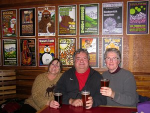 photo of Renee, Bill and Helen at the Moose's Tooth in Anchorage AK