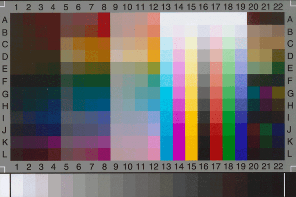 A calibrated IT-8 colour target which links to our scanning and photography for good colour management