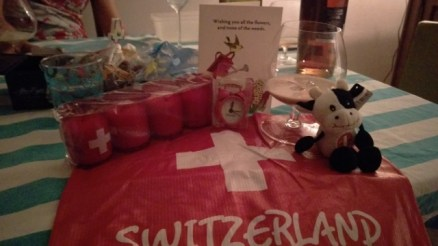 Swiss birthday booty with a Swiss-S story behind every one