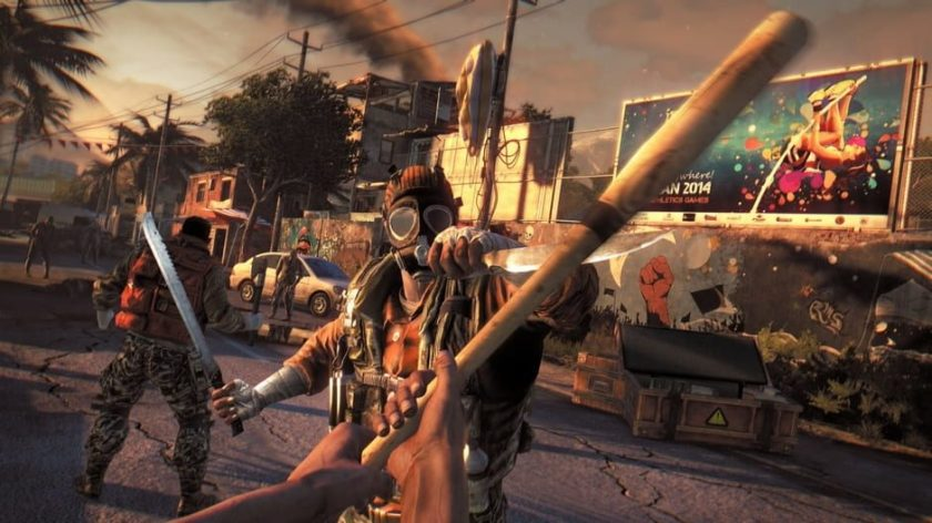 Dying Light. The player is locked into melee combat with another survivor. The player wields a baseball bat while his foe uses a machete and knife.