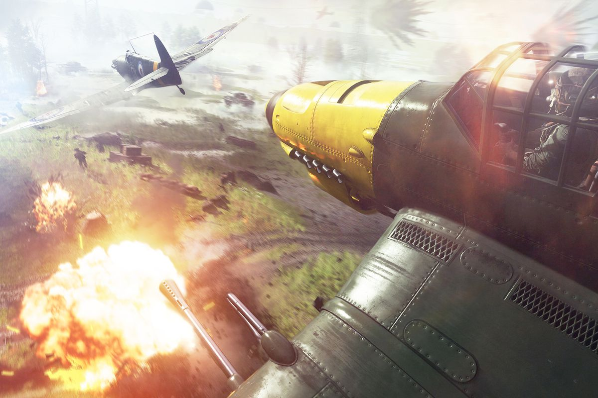 Two planes dig fight above a fiery battlefield.