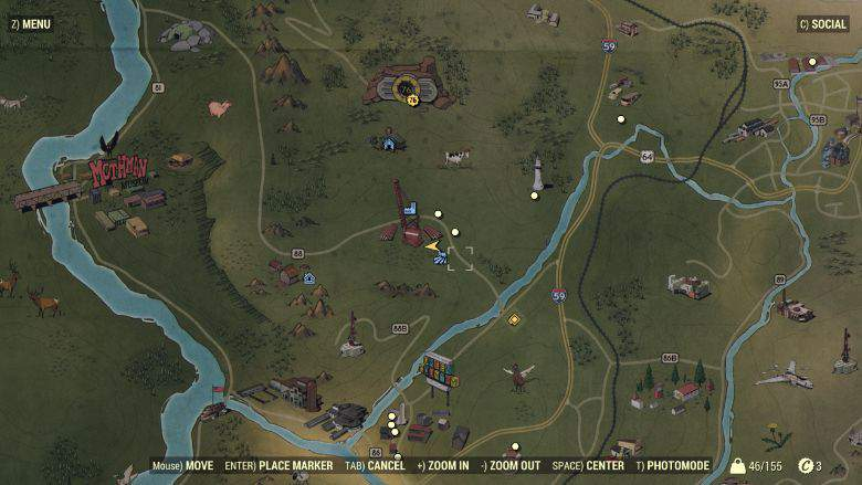 An old school style map in Fallout 76