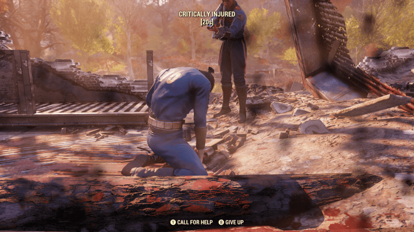 A Fallout 76 vault dweller aims a gun at another vault dweller who is defeated and kneeling.