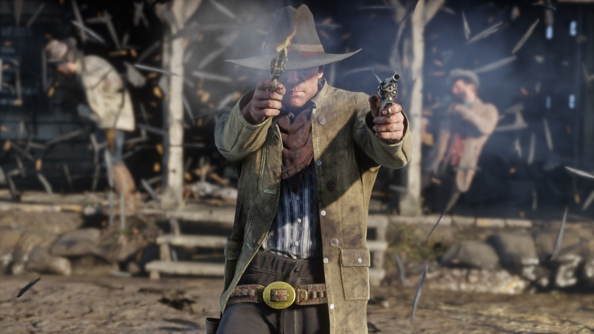 A Red Dead Redemption 2 gunfight as the protagonist opens fire with a revolver in each hand.