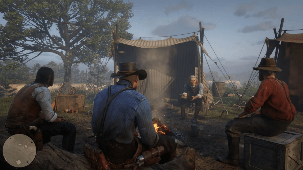 A group of cowboys sit around a relaxing fire in camp in one of Red Dead Redemption 2s quieter moments.