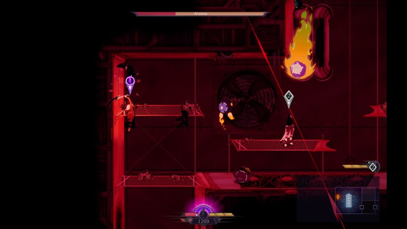 Two players navigate a factory in Sundered.