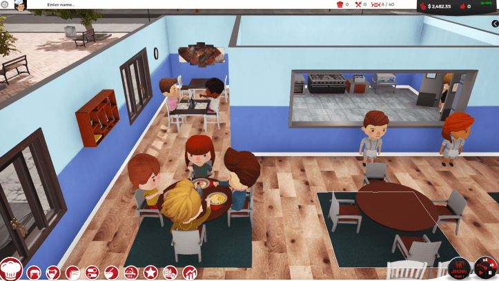Chef_ A Restaurant Tycoon Game Patrons sitting at a table consuming their meals.