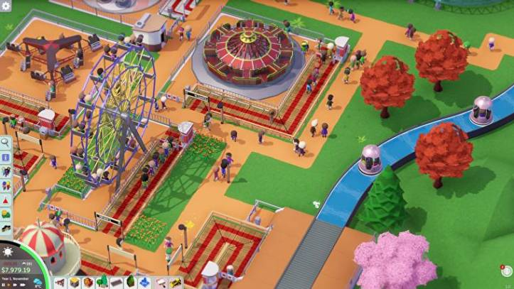 A park with  water rides, carousel and Ferris wheel in Parkitect.