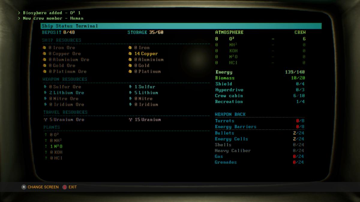 Genesis Alpha One status screen.