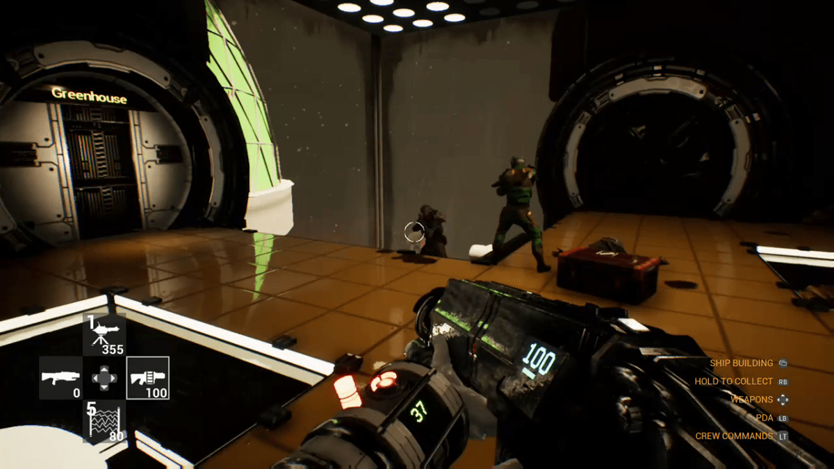 The player and crew fight off a boarding party in Genesis Alpha One.