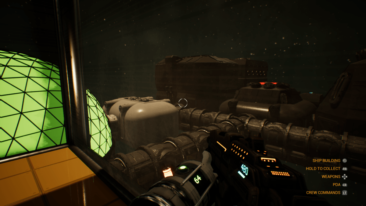 The player looks out a window overlooking their ship in Alpha Genesis One.