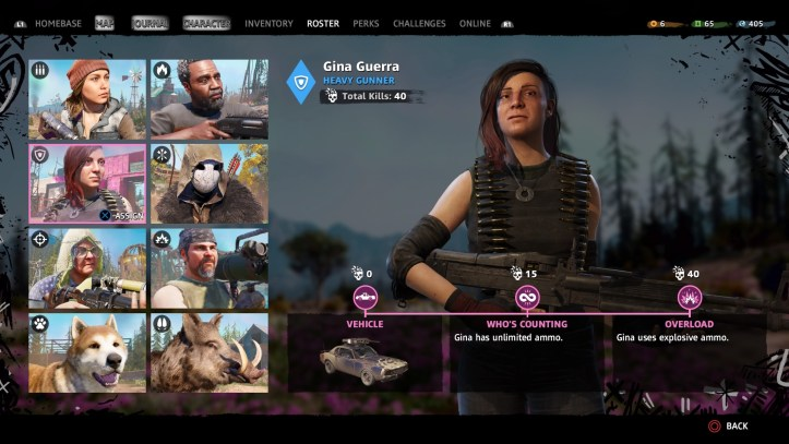 FarCry New Dawn guns for hire screen.
