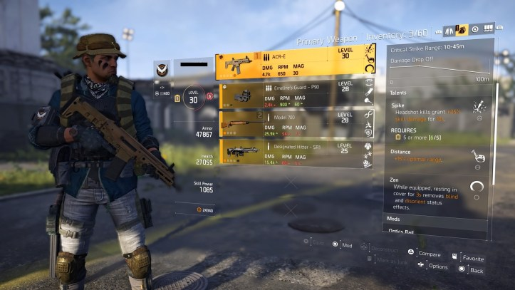 The division 2 inventory screen